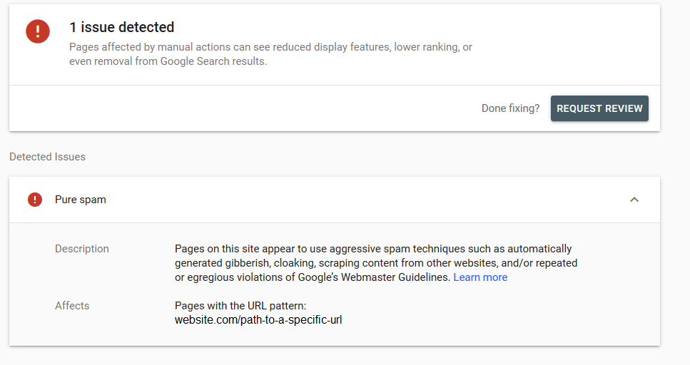 pure spam penalty from google