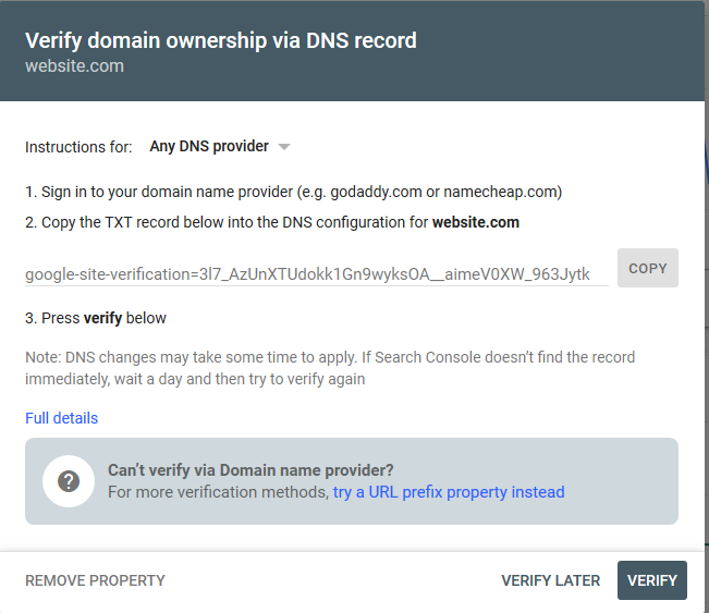 google search console verify property