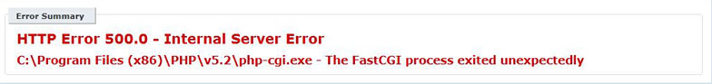 the fastcgi process exited unexpectedly