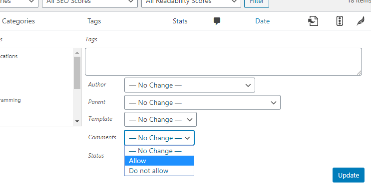 dropdown to toggle comments for post types in bulk