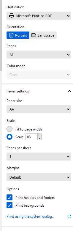 firefox print in color option